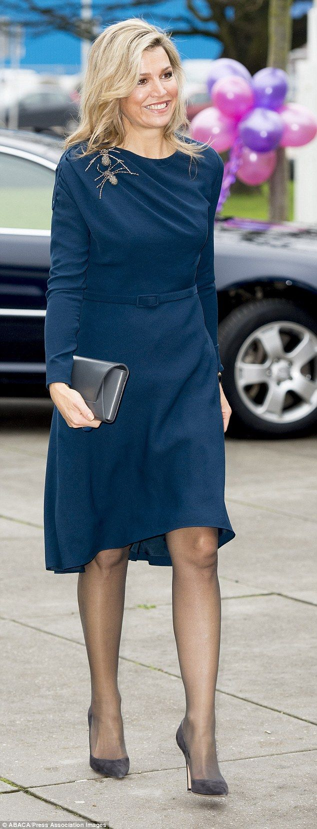 The 44-year-old Dutch royal's sophisticated long-sleeved dress with a matching belt gather...