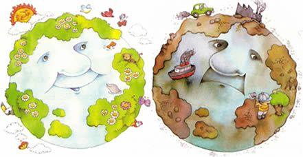 En esta ilustración podemos observar, a la izquierda, el planeta Tierra alegre y, a la derecha, el planeta Tierra triste. A partir de la comparación de ambos dibujos, se podría desarrollar en el alumnado una conciencia ecológica y potenciar el cuidado del medio ambiente.