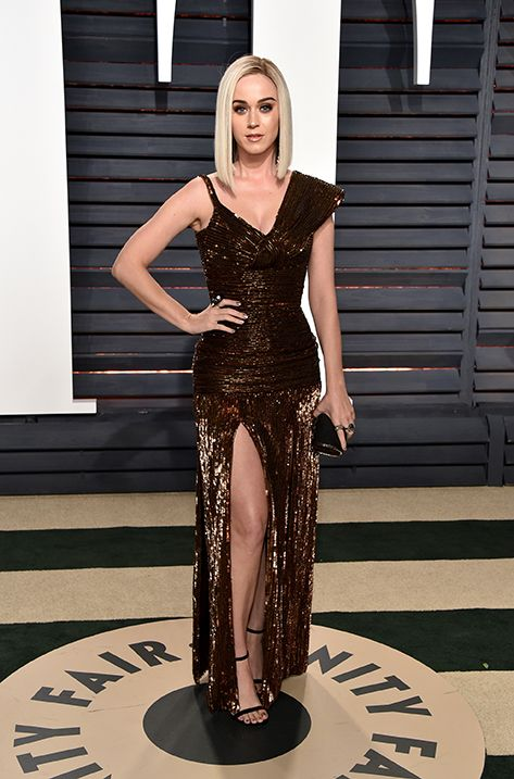 Katy Perry wearing MINNY and carrying CARMEN to the Vanity Fair Oscar Party in Los Angeles