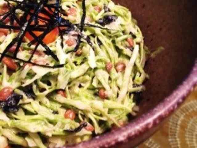 キャベツと納豆の和風おつまみサラダの画像