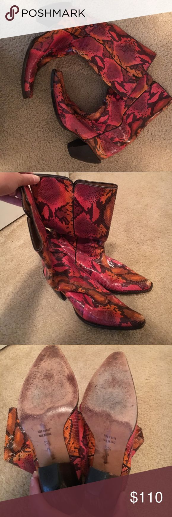 Donald J. Pliner pink snakeskin cowboy boots These shoes are so cute and fun!! Unfortunately, they are too small for my feet. They are a size 9.5, but I would say they run a little bit on the smaller side (I can usually fit into a 9.5 or 10). Donald J. Pliner Shoes Heeled Boots