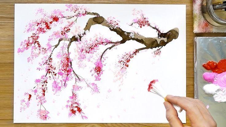 Cherry Blossom Tree Acrylic Painting Technique Acrylic Blossom Cherry C Cherry Blossom Painting Cherry Blossom Painting Acrylic Cherry Blossom Watercolor