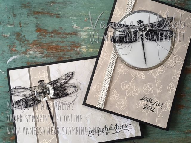 NEW Dragonfly Dreams and Sale-A-bration sneak peek.......plus Vintage Faceted Buttons on sale in Year End Closeouts until 11.50pm tonight - visit my blog for more inspiration and online shopping link - Vanessa Webb Independent Stampin' Up! Demonstrator