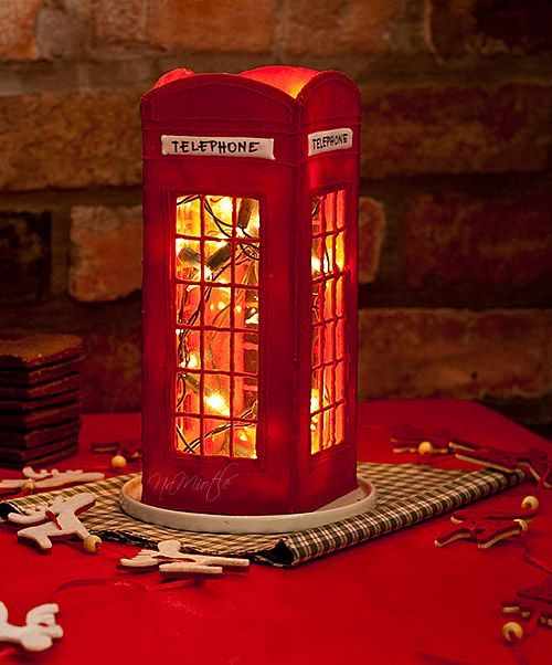 LITTLE RED TELEPHONE BOOTH!!! Use 1L milk cartons, cut holes, cover with tissue/wax paper & paint grid.: