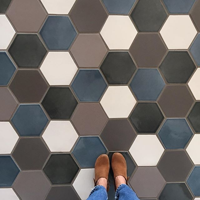 "Here are our 8"" hexes in a mix of Nautical, Shale, Pewter, Cyclone and Daisy (try out these colors by ordering free samples online). This is one of our favorite shapes for flooring."