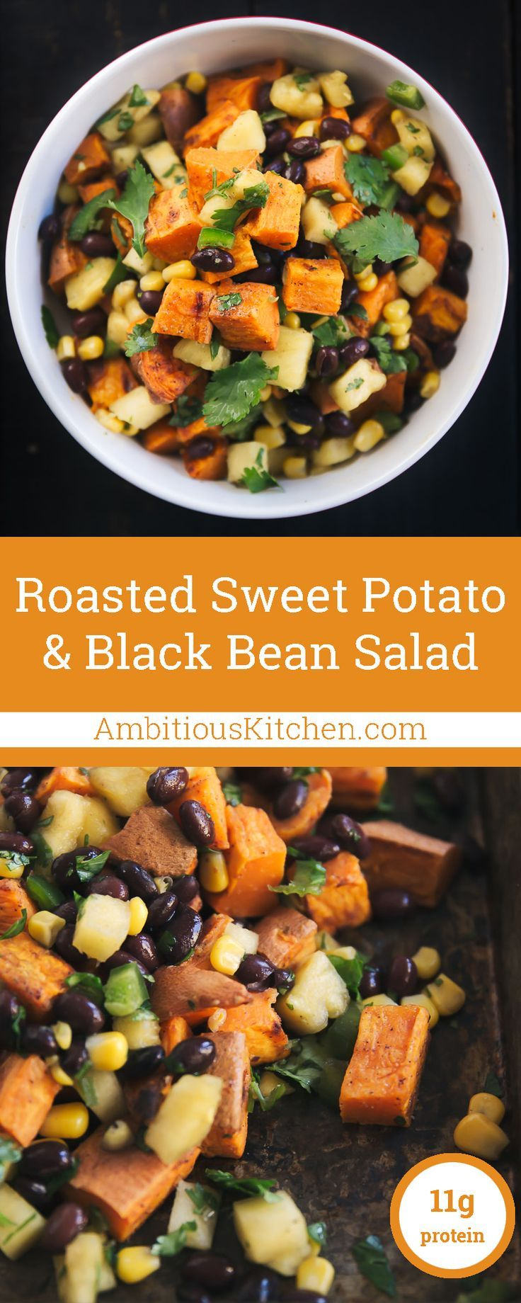 Incredibly delicious vegan & gluten free black bean sweet potato salad with sweet pineapple & corn salsa.