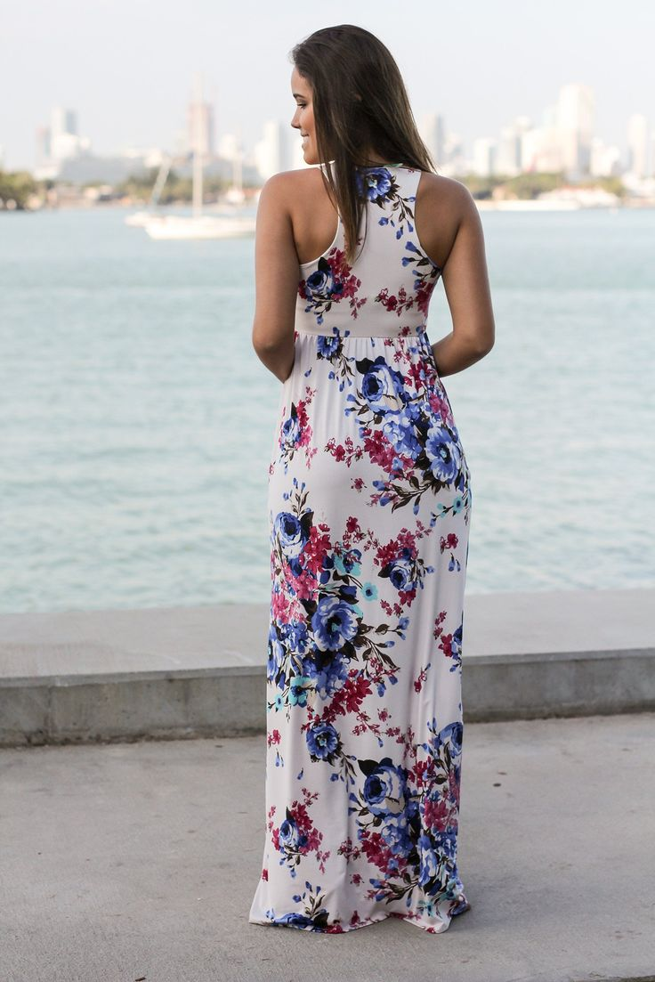 PRETTY! Stop what you're doing and take a peek at this Ivory Floral Racerback Maxi Dress! We are in love with this beautiful floral print in racerback style. Makes a perfect dress for the Spring and S