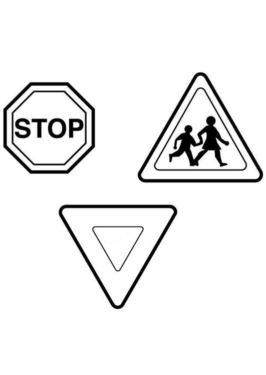 Coloring page traffic signs
