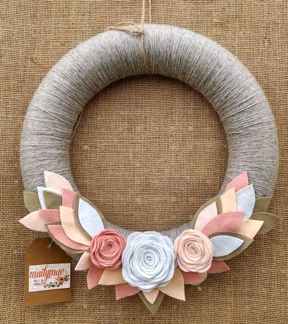 Spring wreath, neutral wreath, modern spring wreath, summer wreath, pink & white wreath, yarn wreath, felt flower wreath, wedding decor