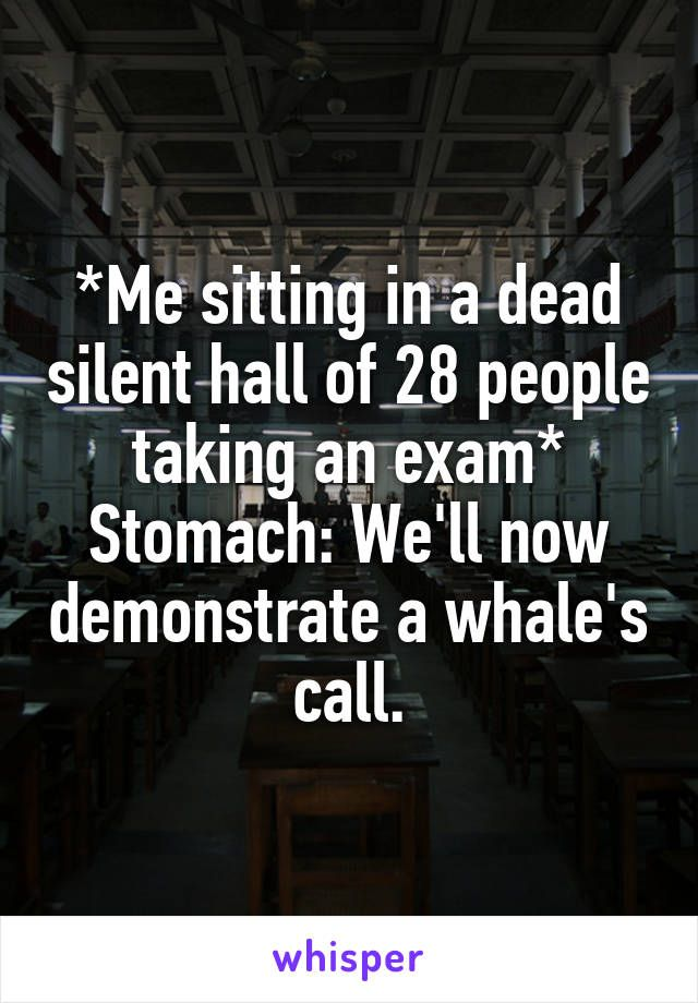 *Me sitting in a dead silent hall of 28 people taking an exam* Stomach: We'll now demonstrate a whale's call.