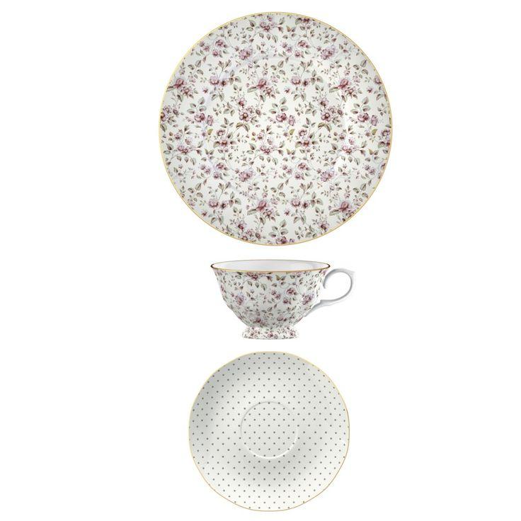 Porcelánový šálek s podšálkem a dezertní talíř Ditsy Floral