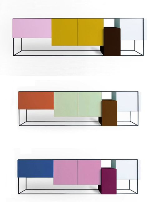 Color blocking by Moca.: Cabinets Porn, Furniture Inspiration, Color Blocking, Frames Cabinets, Free Cabinets, Blocks Moca, Cabinets Consoles Storage, Furniture Design, Colors Blocks