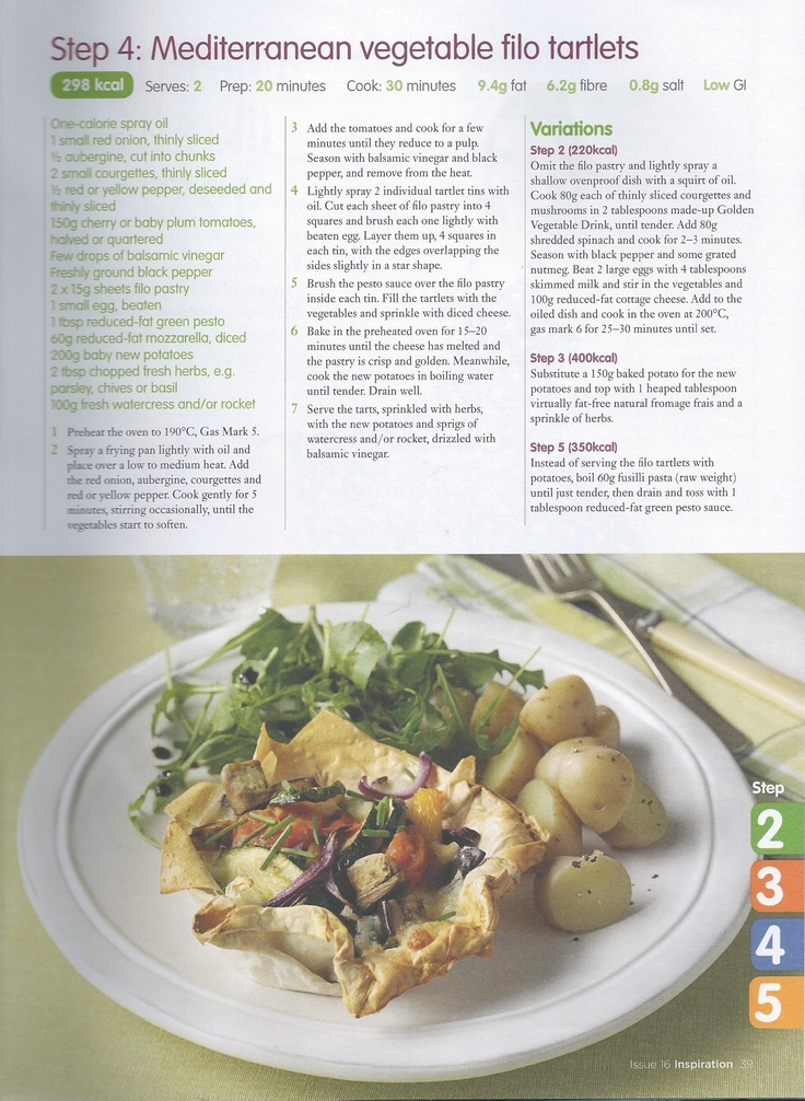 """Mediterranean Vegetable Filo Trartlets Step 4, can be """"stepped up or down"""" Step 2, 3 and 5"""
