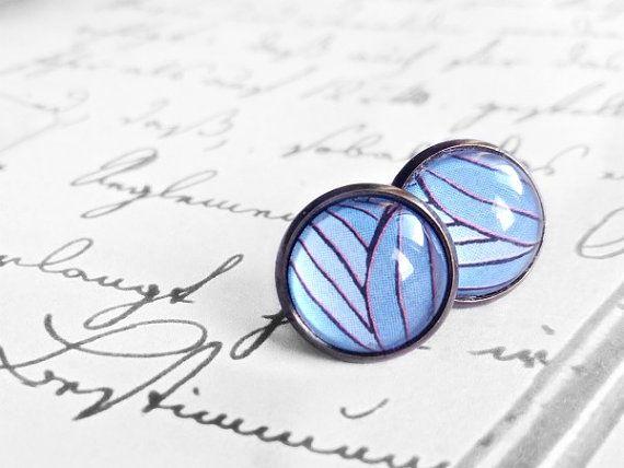 Tiny stud earrings leaf stud earrings blue by JewelryFairyGift