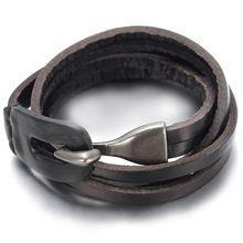 Para hombre de la mujer la aleación del cuero genuino brazalete de la pulsera, vintage, negro, B1390(China (Mainland))