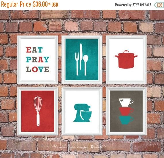 ON SALE Kitchen Art Print Set - Eat Pray Love, Utensil Appliance Silhouettes - Set of (6) 5x7 OR 8x10 // Red Turquoise Charcoal Grey // Kitc