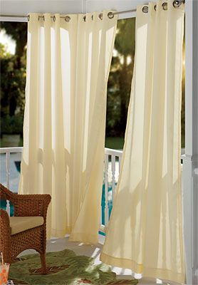 White Patio Curtains with Industrial Grommet