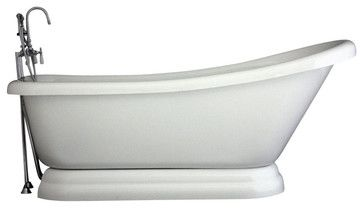 """$1,539 from houzz.com Hotel Collection Single Slipper Pedestal Bathtub/Faucet Package, 59"""" Length contemporary-bathtubs"""