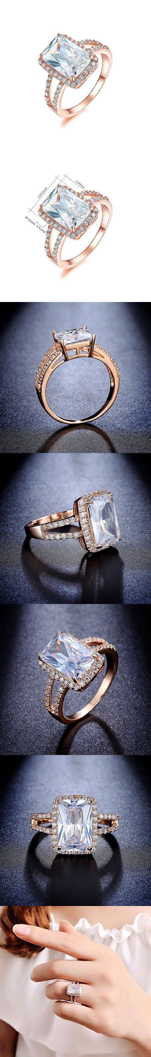 Bella Lotus 4.5ct Radiant Cut CZ 18k Gold Plated Vintage Engagement Rings, Size 7