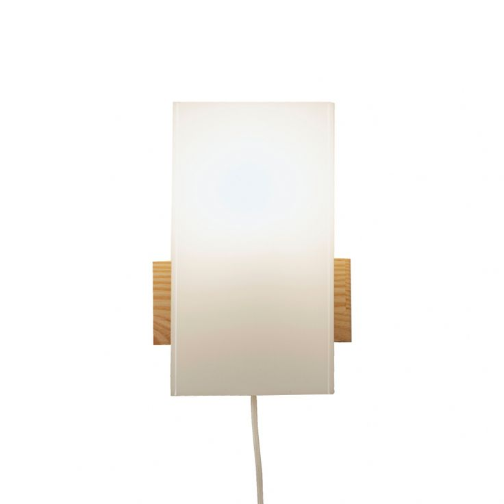 """Maija wall lamp by Yki Nummi, 1950's.  Opal acrylic and birch. Finland.  6.3"""" wide X 5"""" deep X 9"""" high.  One E27 standard medium base bulb.  Comes with 98"""" cord for pin up, can also be direct wired.  List $159."""