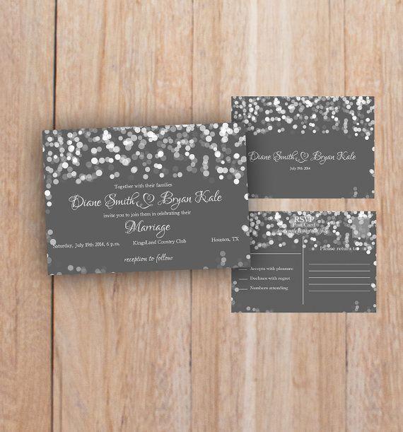 Grey Wedding Invitation Romantic Night Printable by PrintableMoon