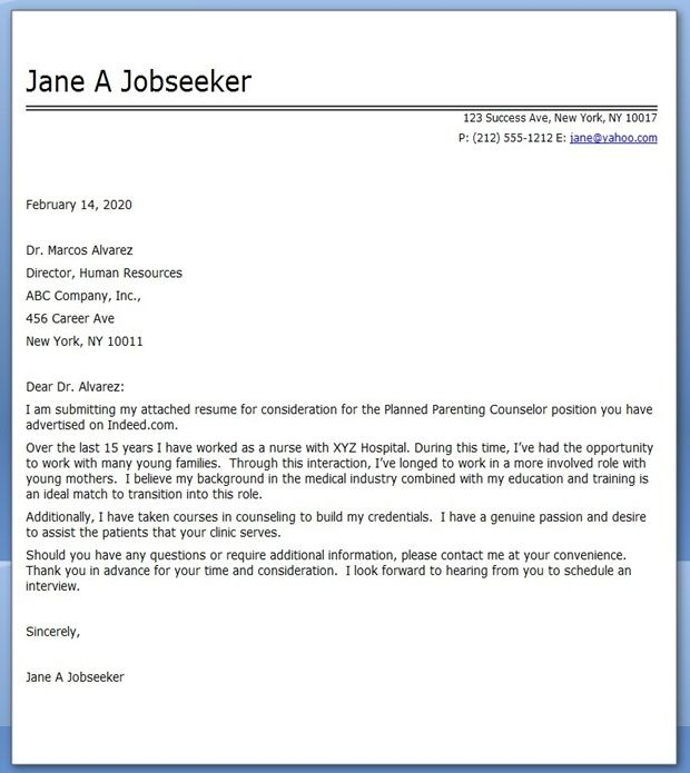 cover letter nursing career change