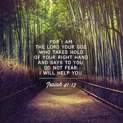 For I am the Lord your God who takes hold of your right hand and says to you, do not fear; I will help you. ~ Isaiah 41:13