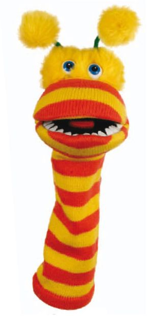 Pom-Pom the Sock Puppet - Oh it's Pom-Pom... http://www.puppetgifts.com/sock-puppets/pom-pom-the-sock-puppet.html