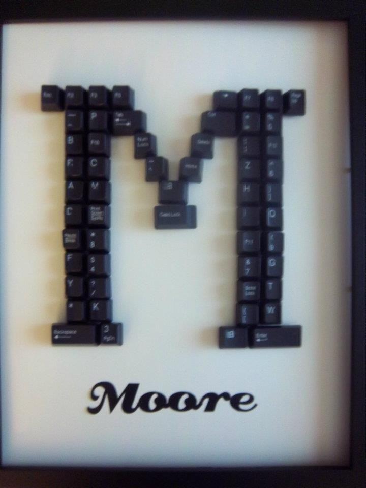 Keyboard Key Framed Monogram Art