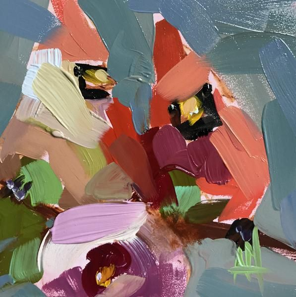 Two Cardinals no. 38 Original Oil Painting by Angela Moulton pre-order