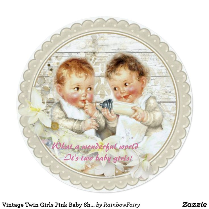 baby shower invitation for twins%0A Vintage Twin Girls Pink Baby Shower Invitation