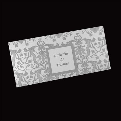 Shabby chic wedding invitations with a damask pattern. Shown here printed in silver. Available in numerous other colours. www.kardella.com