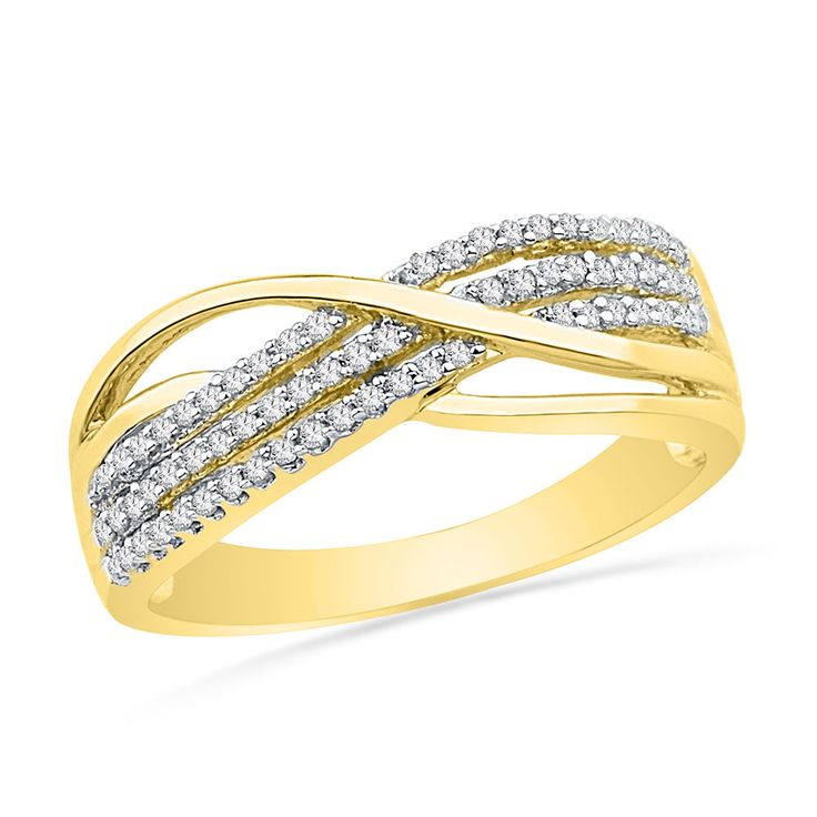 10kt Yellow Gold Womens Round Diamond Band Crossover Ring 1/5 Cttw #Band