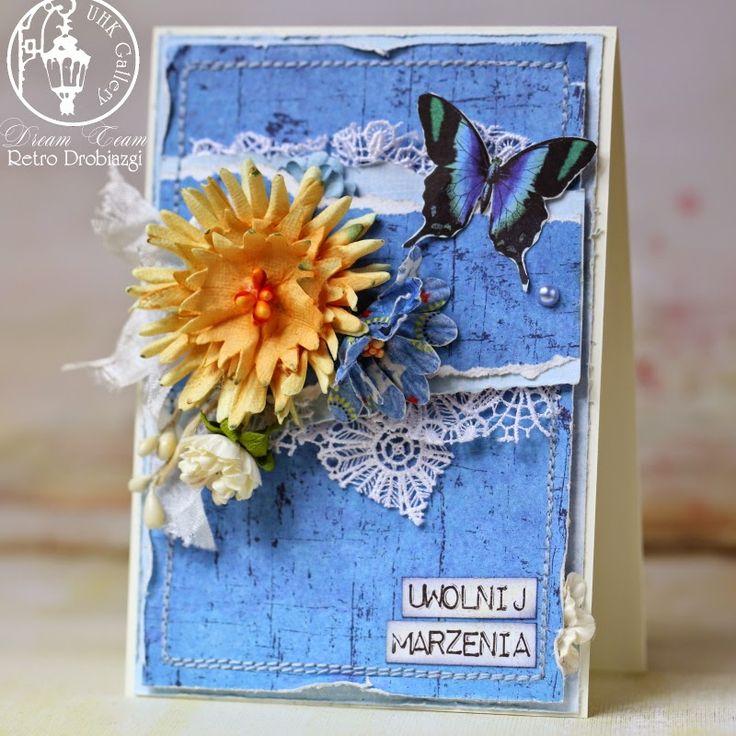 flower butterfy blue card