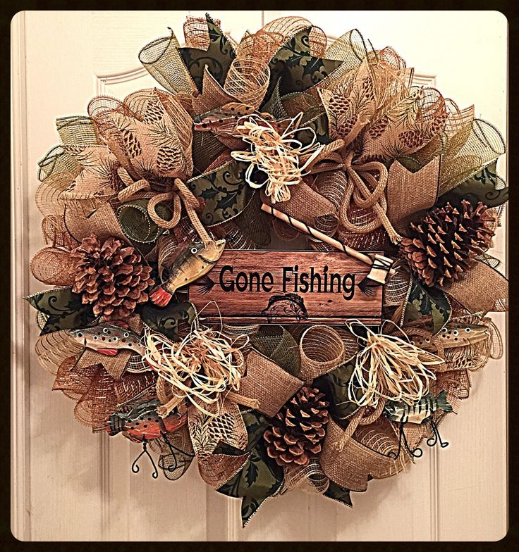 Gone Fishing Deco Mesh Wreath/ Fishing Wreath/Fall Wreath/Autumn Wreath/Cabin Wreath/Outdoors Wreath/Fall Deco Mesh Wreath by CKDazzlingDesign on Etsy https://www.etsy.com/listing/199696152/gone-fishing-deco-mesh-wreath-fishing
