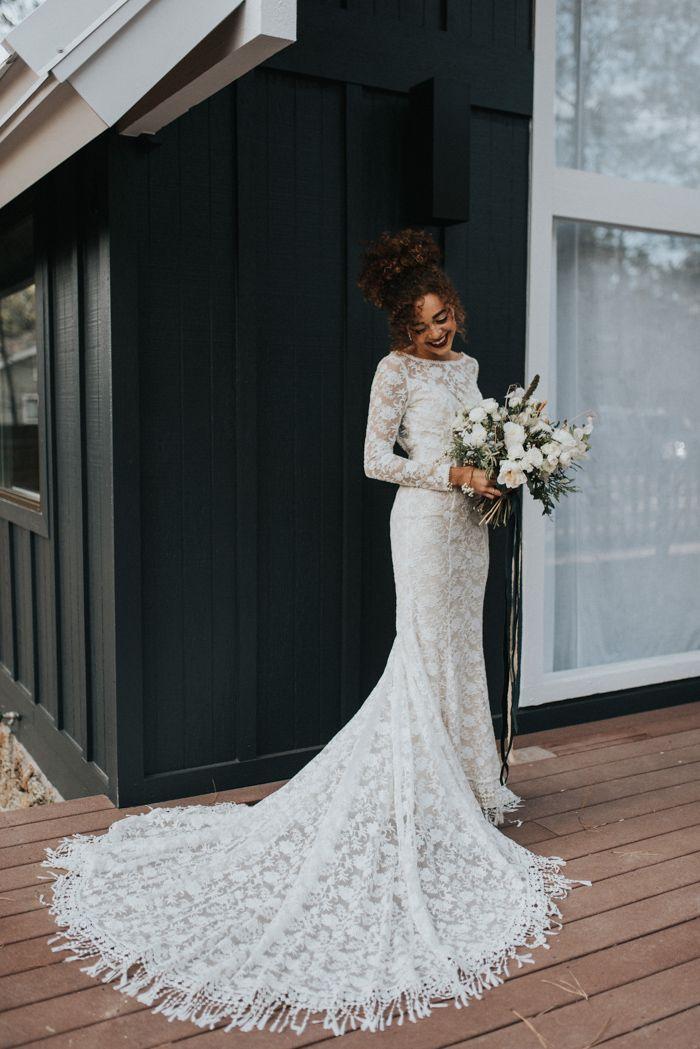 This Elegant Cabin Wedding Inspiration Is A Modern Winter Wonderland Junebug Weddings Wedding Dress Long Sleeve Boho Wedding Dress Lace Wedding Dresses Lace,Nice Long Dresses For Weddings