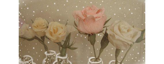 Happy Wedding Paper Flowers Crepe Roses Pastel by moniaflowers