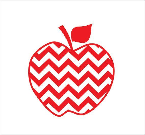 Apple Teacher Chevron One Color Instant Digital Download