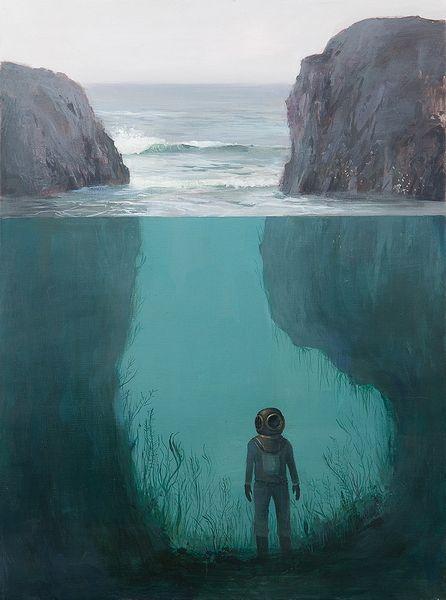 scuba dive illustration poster