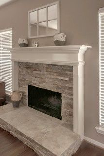 Stacked Stone Half Wall Fireplace Framed Mantel