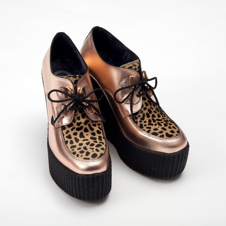3939 x Underground Shoe Collaboration - rose gold leather and leopard wedge creepers
