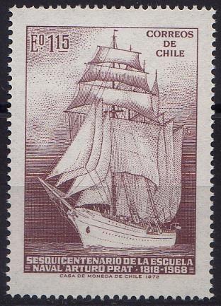 Se emitió el 4 de agosto de 1972 y conmemoraba los 150 años de la Escuela Naval Arturo Prat.  Esta es la institución de la Armada de Chile donde se forman los oficiales de la marina de guerra.  Fue fundada en 1818 por el general Bernardo OHiggins, es decir nació junto con la república.
