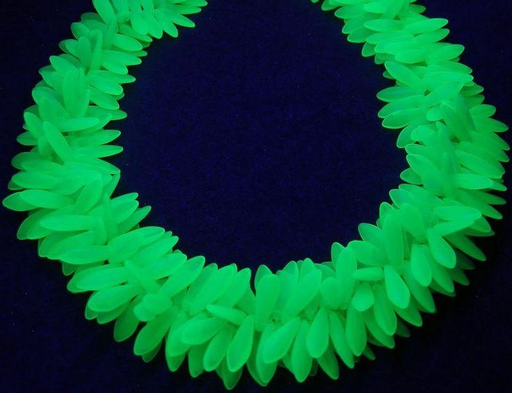"""Rich Milky Green Uranium Vaseline Dagger Czech Glass Beads Necklace 2-Strand 23"""" #CzechGlass #Statement"""