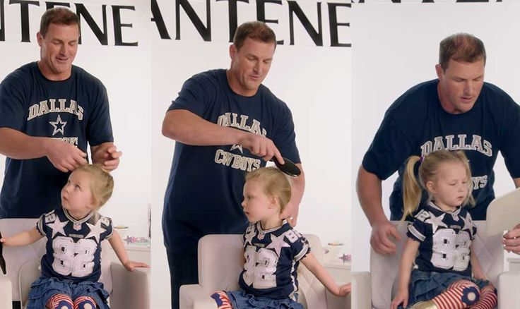"""ALL the FEELS! Strong Girls grow up to be STRONG WOMEN. Jason Witten and Other NFL Players Attempt """"Dad-Dos"""" With Their Daughters' Hair"""