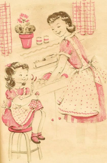 Vintage print....this reminds me of when I was young and would wear my grandmothers aprons to help her wash dishes.