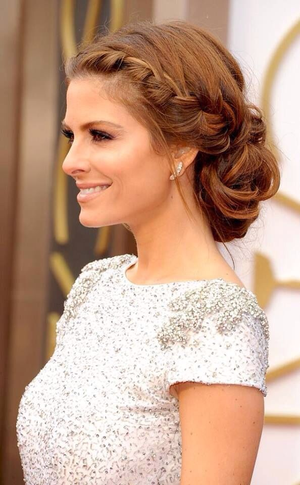 Maria Menounos soft casual updo with braid oscars 2014