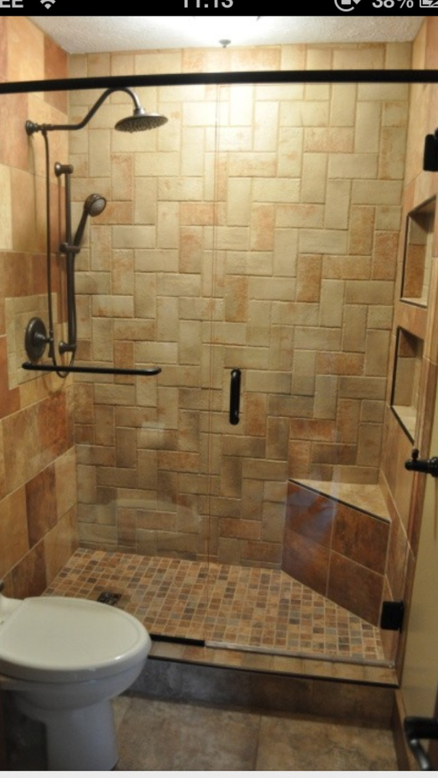 Small Master Bath Remodel, Master Bath With Complete Tile Shower,  Herringbone Pattern On Back Shower Wall. 6 Different Types/colors Of Tile,  ...