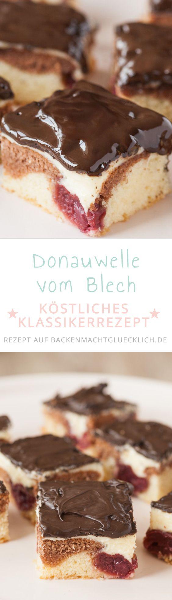 Klassische Donauwelle mit Pudding-Buttercreme vom Blech: Mit diesem Donauwellen-Rezept gelingt euch der beliebte Kirschkuchen garantiert!