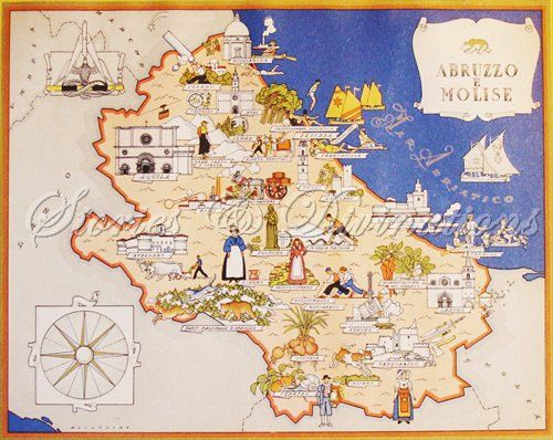 Vintage Map of italy 1938 Abruzzo and by StoriesDivinations