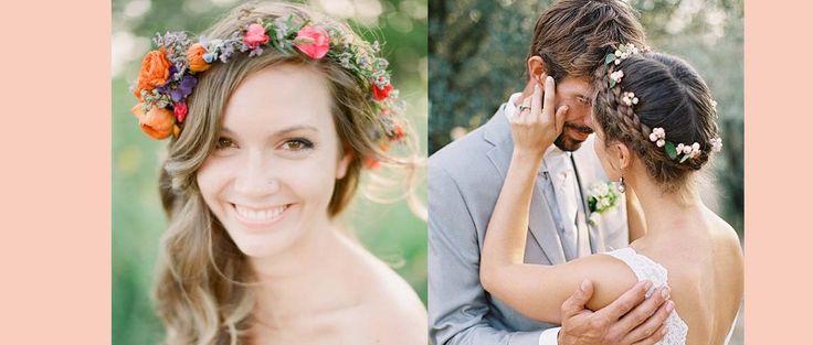 Najładniejsze ślubne fryzury z kwiecistymi wiankami